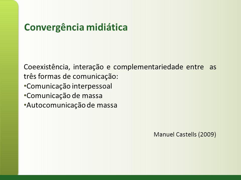 Convergência midiática Coeexistência, interação e complementariedade entre as três formas de comunicação: Comunicação interpessoal Comunicação de mass