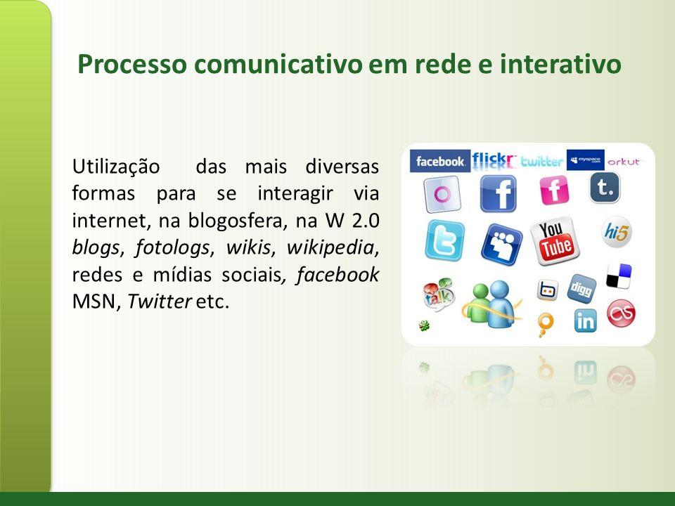Processo comunicativo em rede e interativo Utilização das mais diversas formas para se interagir via internet, na blogosfera, na W 2.0 blogs, fotologs