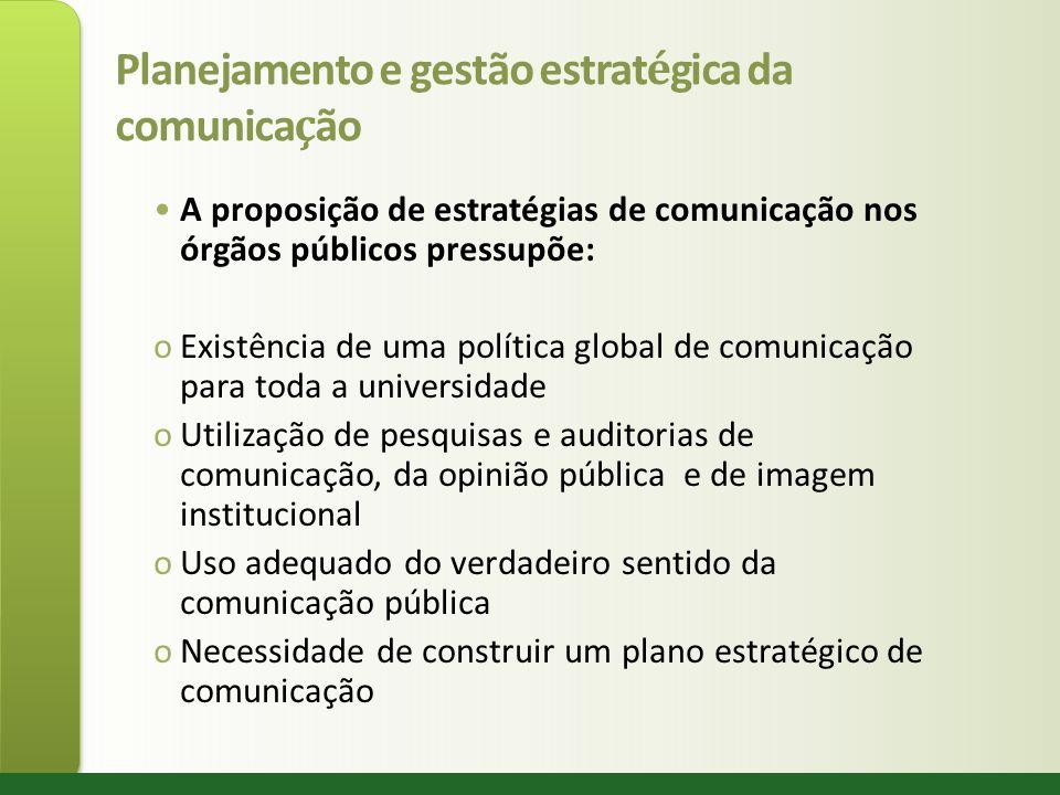 Planejamento e gestão estrat é gica da comunica ç ão A proposição de estratégias de comunicação nos órgãos públicos pressupõe: oExistência de uma polí