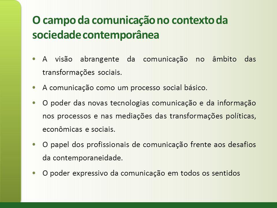 O campo da comunicação no contexto da sociedade contemporânea A visão abrangente da comunicação no âmbito das transformações sociais. A comunicação co