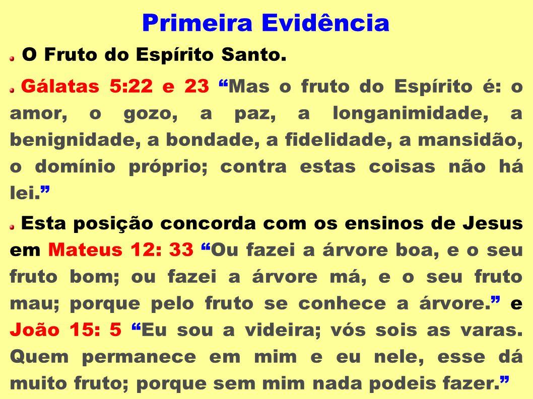 Primeira Evidência O Fruto do Espírito Santo. Gálatas 5:22 e 23 Mas o fruto do Espírito é: o amor, o gozo, a paz, a longanimidade, a benignidade, a bo