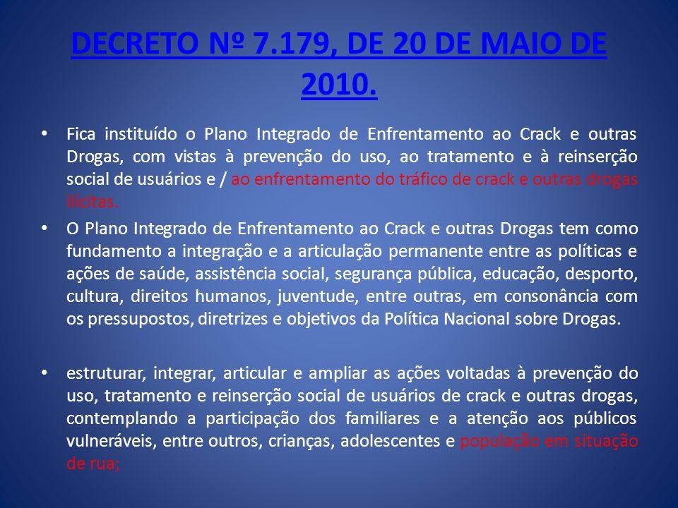 DECRETO Nº 7.179, DE 20 DE MAIO DE 2010. Fica instituído o Plano Integrado de Enfrentamento ao Crack e outras Drogas, com vistas à prevenção do uso, a