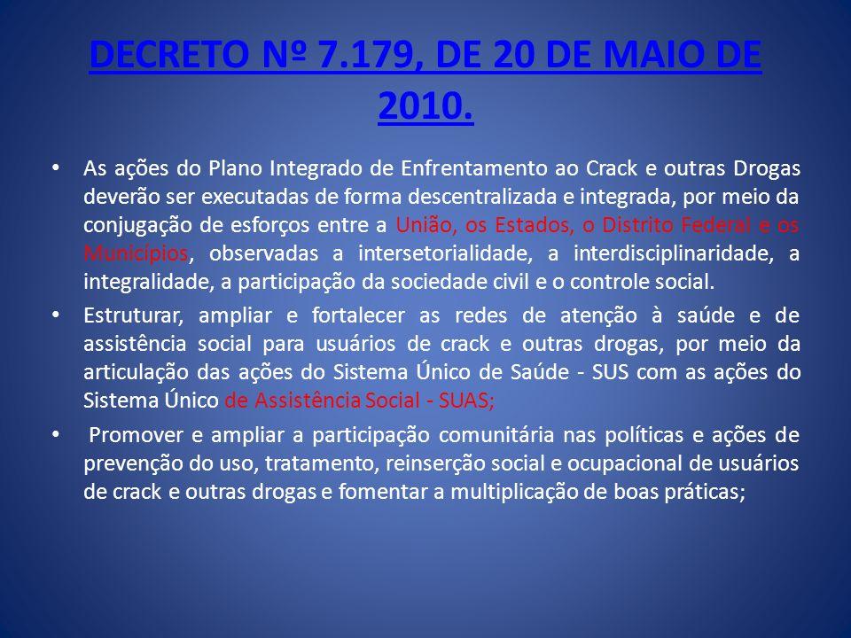 DECRETO Nº 7.179, DE 20 DE MAIO DE 2010. As ações do Plano Integrado de Enfrentamento ao Crack e outras Drogas deverão ser executadas de forma descent