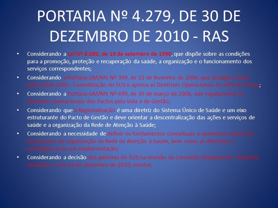 PORTARIA Nº 4.279, DE 30 DE DEZEMBRO DE 2010 - RAS Considerando a Lei Nº 8.080, de 19 de setembro de 1990, que dispõe sobre as condições para a promoç