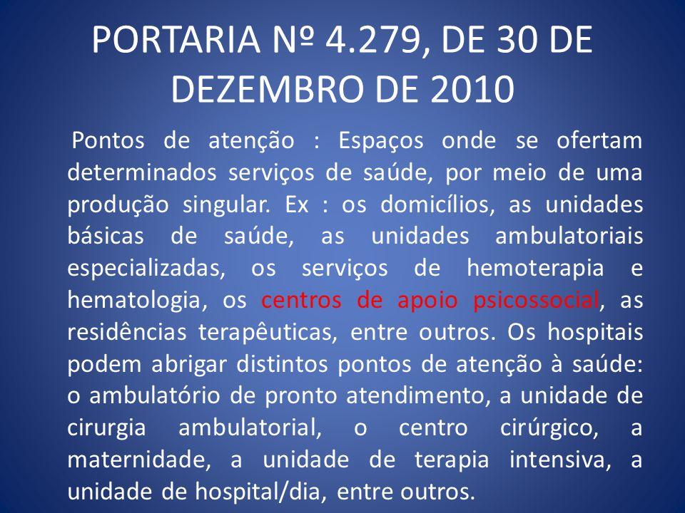 PORTARIA Nº 4.279, DE 30 DE DEZEMBRO DE 2010 Todos os pontos de atenção a saúde são igualmente importantes para que se cumpram os objetivos da rede de atenção à saúde e se diferenciam, apenas, pelas distintas densidades tecnológicas que os caracterizam.