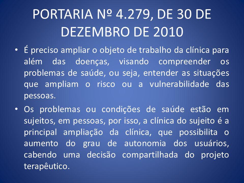 PORTARIA Nº 4.279, DE 30 DE DEZEMBRO DE 2010 É preciso ampliar o objeto de trabalho da clínica para além das doenças, visando compreender os problemas