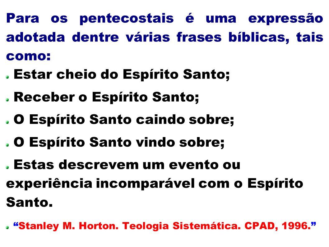 Para os pentecostais é uma expressão adotada dentre várias frases bíblicas, tais como: Estar cheio do Espírito Santo; Receber o Espírito Santo; O Espí