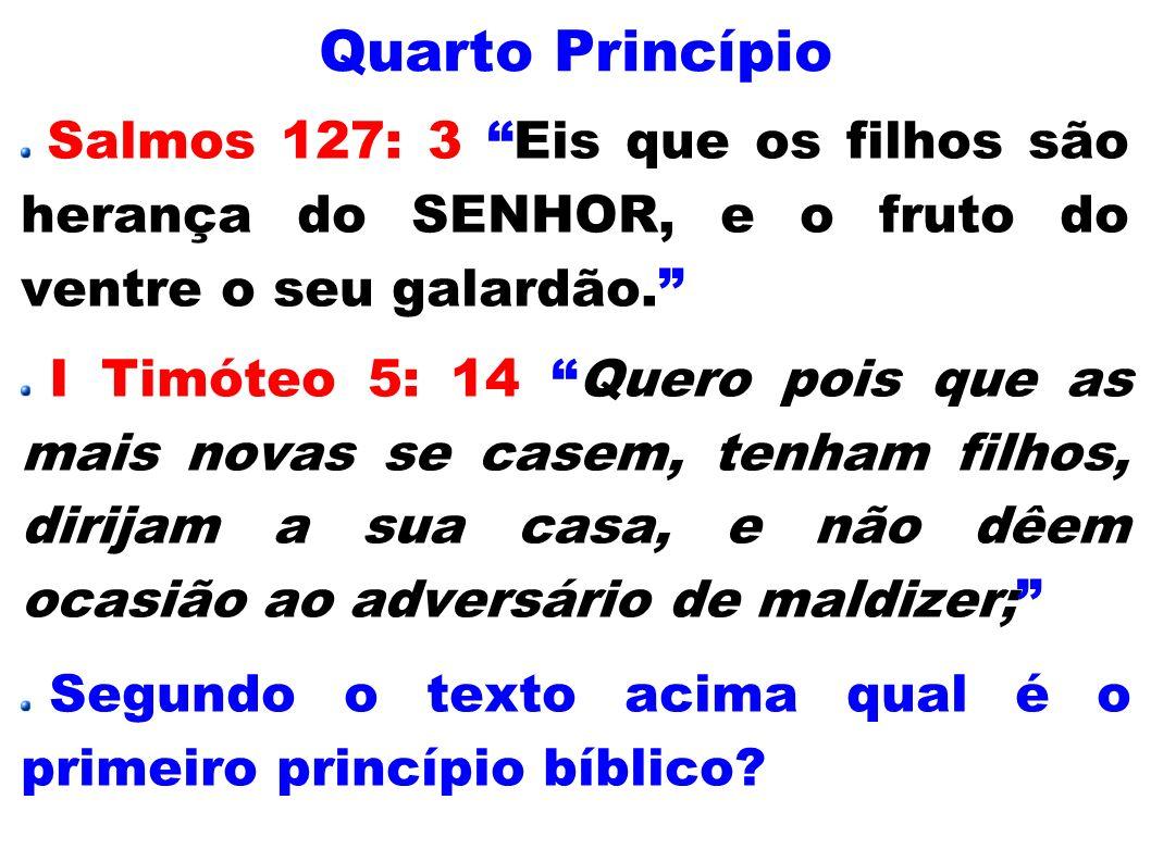 Quarto Princípio Salmos 127: 3 Eis que os filhos são herança do SENHOR, e o fruto do ventre o seu galardão. I Timóteo 5: 14 Quero pois que as mais nov