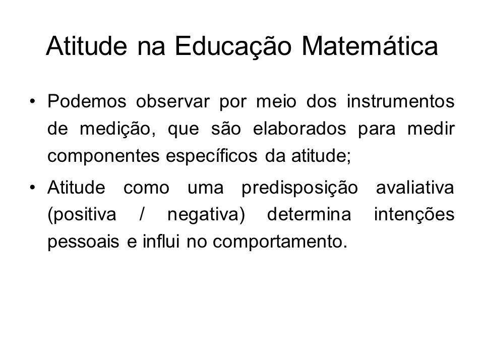 Atitude na Educação Matemática Podemos observar por meio dos instrumentos de medição, que são elaborados para medir componentes específicos da atitude