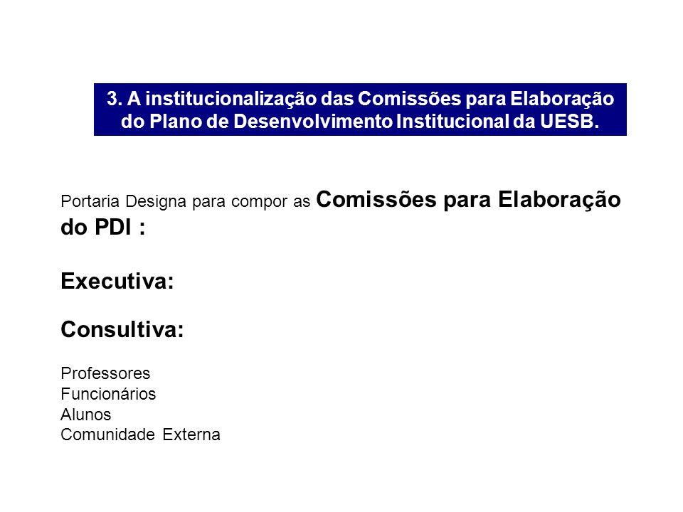 3. A institucionalização das Comissões para Elaboração do Plano de Desenvolvimento Institucional da UESB. Portaria Designa para compor as Comissões pa