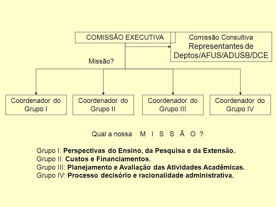 COMISSÃO EXECUTIVA Coordenador do Grupo I Coordenador do Grupo II Coordenador do Grupo III Coordenador do Grupo IV Comissão Consultiva Representantes