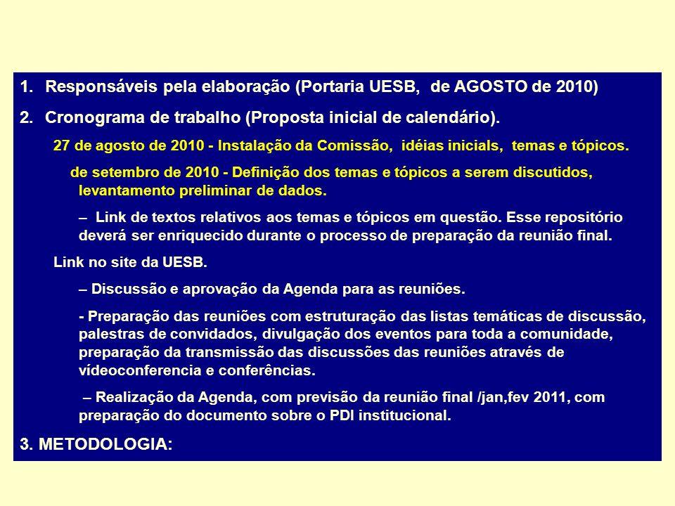 1.Responsáveis pela elaboração (Portaria UESB, de AGOSTO de 2010) 2.Cronograma de trabalho (Proposta inicial de calendário). 27 de agosto de 2010 - In