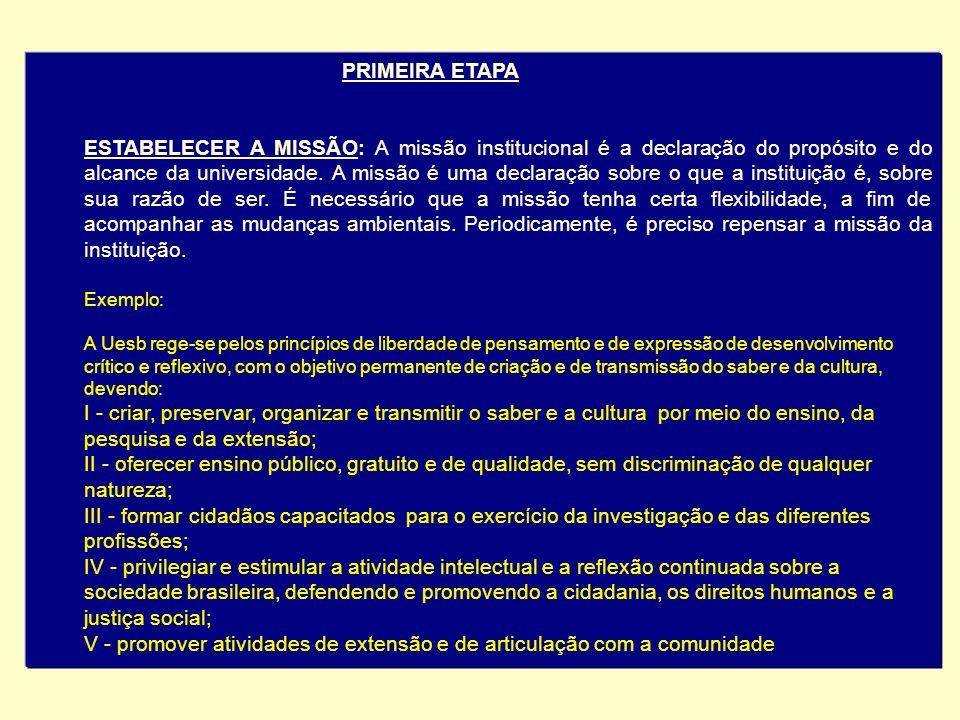 PRIMEIRA ETAPA ESTABELECER A MISSÃO: A missão institucional é a declaração do propósito e do alcance da universidade. A missão é uma declaração sobre