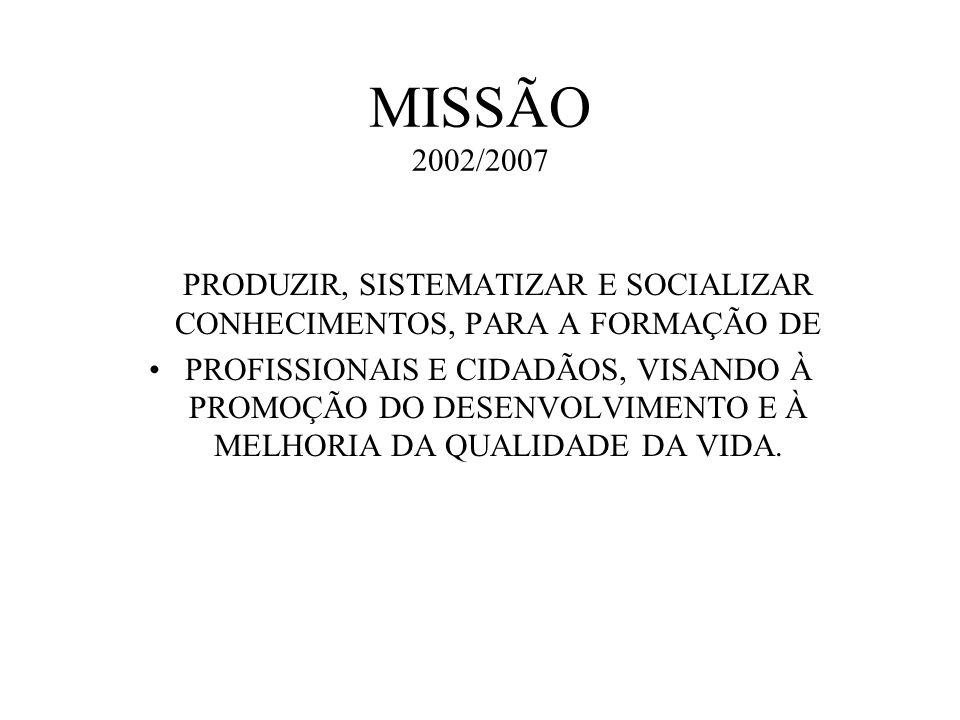 MISSÃO 2002/2007 ESTABELECER A MISSÃO: A missão PRODUZIR, SISTEMATIZAR E SOCIALIZAR CONHECIMENTOS, PARA A FORMAÇÃO DE PROFISSIONAIS E CIDADÃOS, VISAND