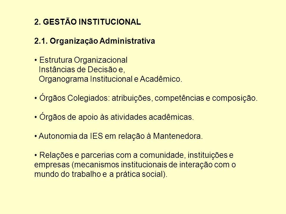 2. GESTÃO INSTITUCIONAL 2.1. Organização Administrativa Estrutura Organizacional Instâncias de Decisão e, Organograma Institucional e Acadêmico. Órgão