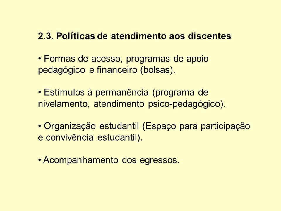 2.3. Políticas de atendimento aos discentes Formas de acesso, programas de apoio pedagógico e financeiro (bolsas). Estímulos à permanência (programa d