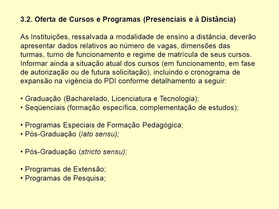 3.2. Oferta de Cursos e Programas (Presenciais e à Distância) As Instituições, ressalvada a modalidade de ensino a distância, deverão apresentar dados