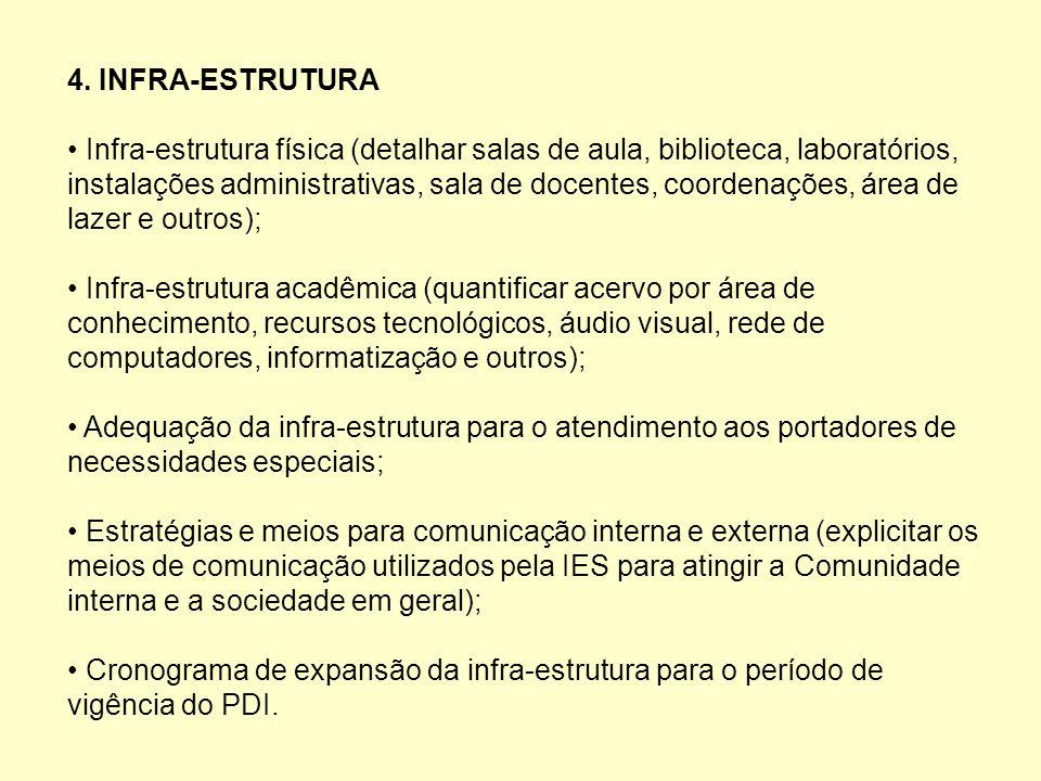 4. INFRA-ESTRUTURA Infra-estrutura física (detalhar salas de aula, biblioteca, laboratórios, instalações administrativas, sala de docentes, coordenaçõ