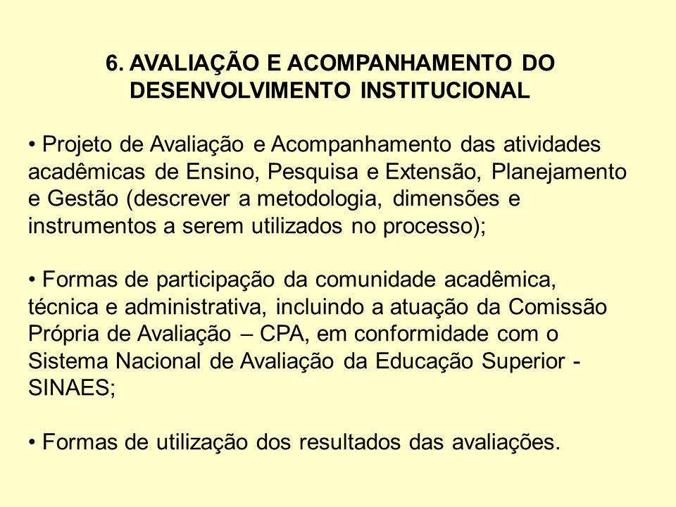 6. AVALIAÇÃO E ACOMPANHAMENTO DO DESENVOLVIMENTO INSTITUCIONAL Projeto de Avaliação e Acompanhamento das atividades acadêmicas de Ensino, Pesquisa e E