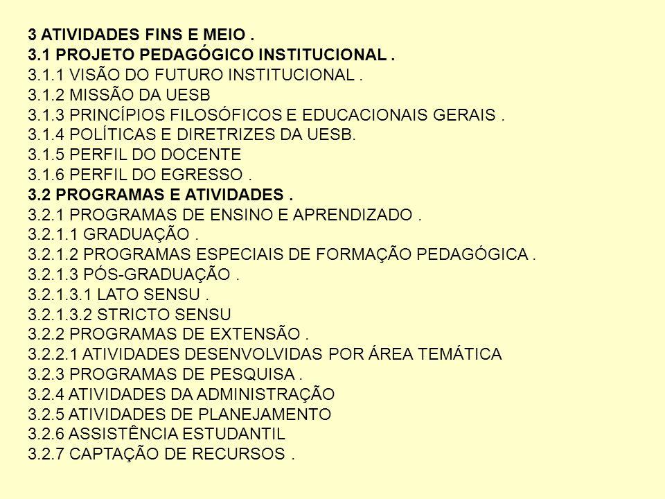 3 ATIVIDADES FINS E MEIO. 3.1 PROJETO PEDAGÓGICO INSTITUCIONAL. 3.1.1 VISÃO DO FUTURO INSTITUCIONAL. 3.1.2 MISSÃO DA UESB 3.1.3 PRINCÍPIOS FILOSÓFICOS