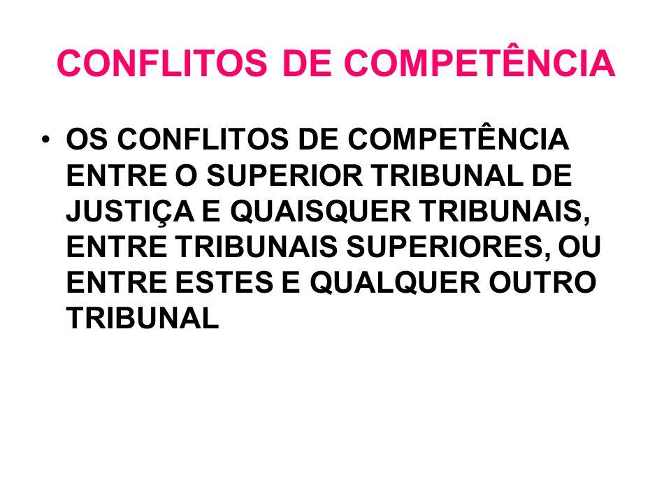 CONFLITOS DE COMPETÊNCIA OS CONFLITOS DE COMPETÊNCIA ENTRE O SUPERIOR TRIBUNAL DE JUSTIÇA E QUAISQUER TRIBUNAIS, ENTRE TRIBUNAIS SUPERIORES, OU ENTRE