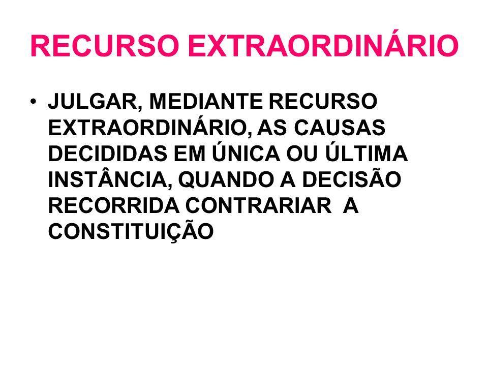 RECURSO EXTRAORDINÁRIO JULGAR, MEDIANTE RECURSO EXTRAORDINÁRIO, AS CAUSAS DECIDIDAS EM ÚNICA OU ÚLTIMA INSTÂNCIA, QUANDO A DECISÃO RECORRIDA CONTRARIA