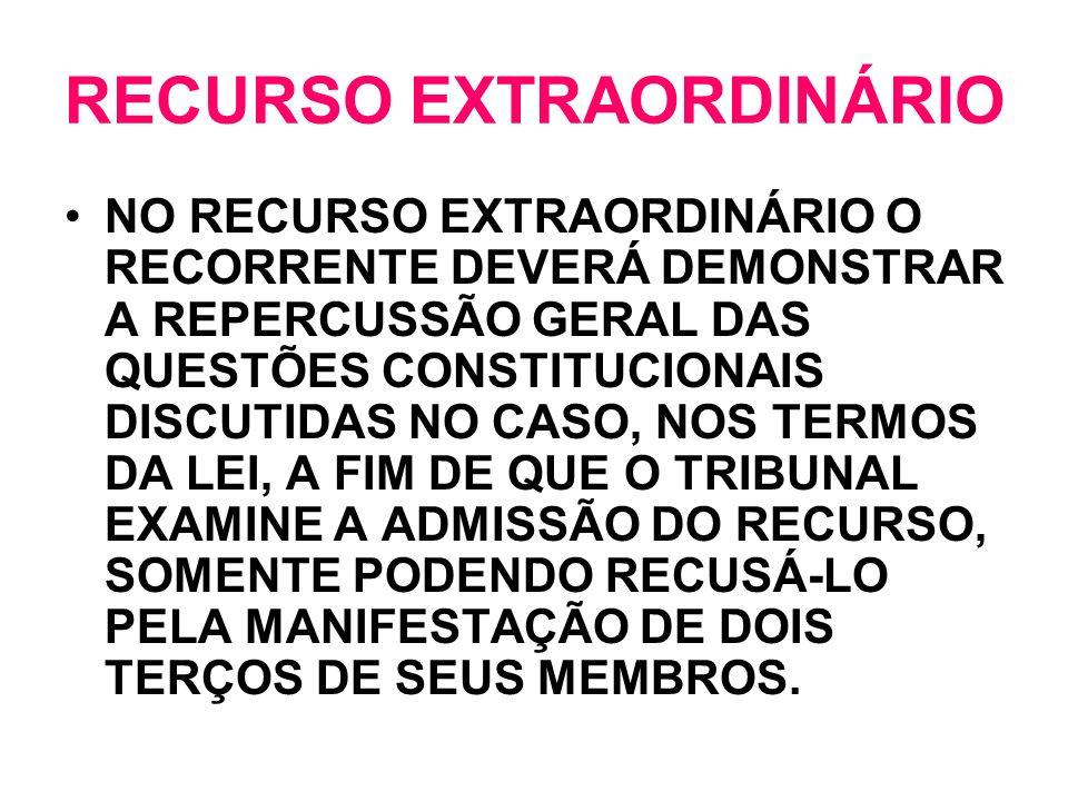 RECURSO EXTRAORDINÁRIO NO RECURSO EXTRAORDINÁRIO O RECORRENTE DEVERÁ DEMONSTRAR A REPERCUSSÃO GERAL DAS QUESTÕES CONSTITUCIONAIS DISCUTIDAS NO CASO, N