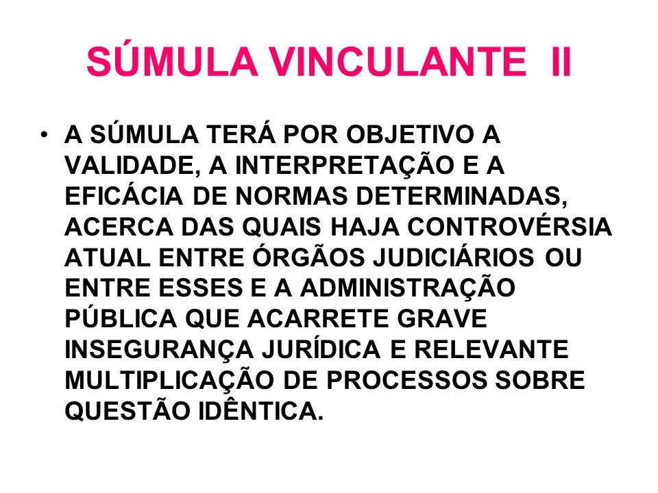 SÚMULA VINCULANTE II A SÚMULA TERÁ POR OBJETIVO A VALIDADE, A INTERPRETAÇÃO E A EFICÁCIA DE NORMAS DETERMINADAS, ACERCA DAS QUAIS HAJA CONTROVÉRSIA AT