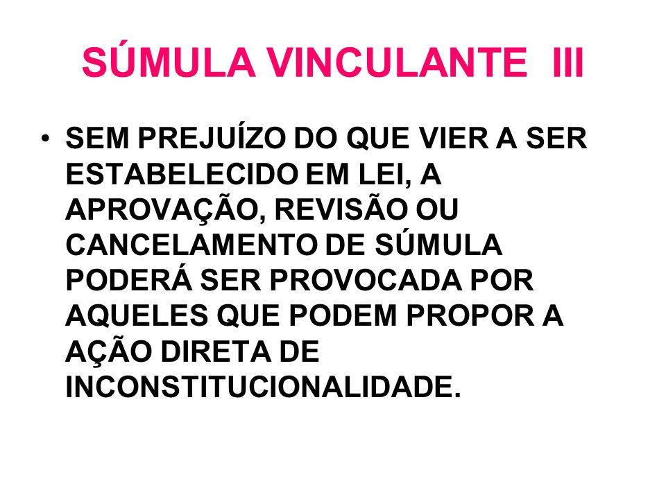 SÚMULA VINCULANTE III SEM PREJUÍZO DO QUE VIER A SER ESTABELECIDO EM LEI, A APROVAÇÃO, REVISÃO OU CANCELAMENTO DE SÚMULA PODERÁ SER PROVOCADA POR AQUE