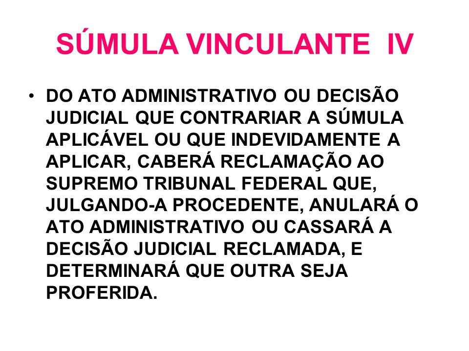 SÚMULA VINCULANTE IV DO ATO ADMINISTRATIVO OU DECISÃO JUDICIAL QUE CONTRARIAR A SÚMULA APLICÁVEL OU QUE INDEVIDAMENTE A APLICAR, CABERÁ RECLAMAÇÃO AO