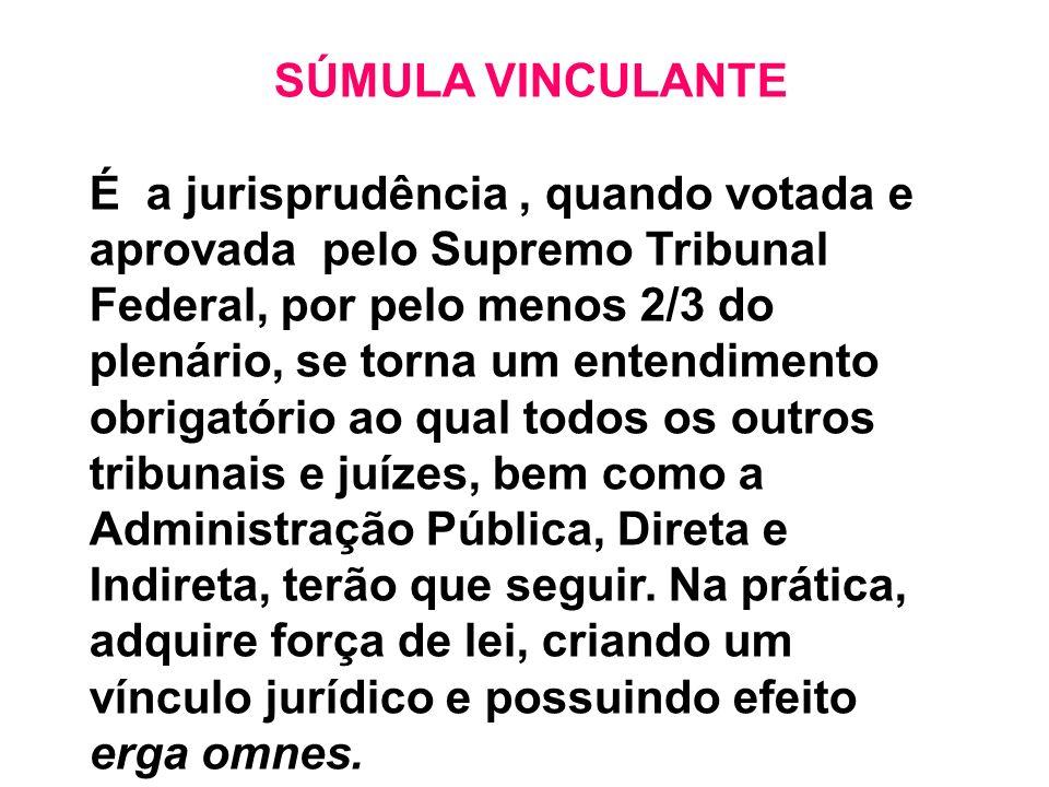 SÚMULA VINCULANTE É a jurisprudência, quando votada e aprovada pelo Supremo Tribunal Federal, por pelo menos 2/3 do plenário, se torna um entendimento
