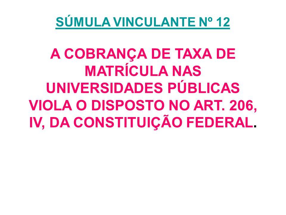 SÚMULA VINCULANTE Nº 12 SÚMULA VINCULANTE Nº 12 A COBRANÇA DE TAXA DE MATRÍCULA NAS UNIVERSIDADES PÚBLICAS VIOLA O DISPOSTO NO ART. 206, IV, DA CONSTI