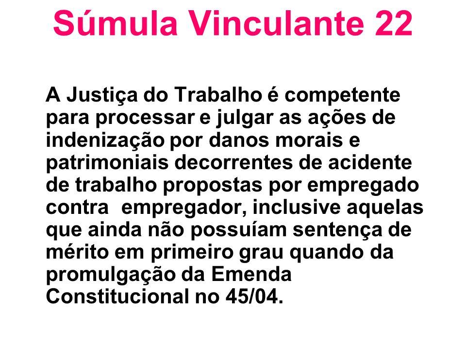 Súmula Vinculante 22 A Justiça do Trabalho é competente para processar e julgar as ações de indenização por danos morais e patrimoniais decorrentes de