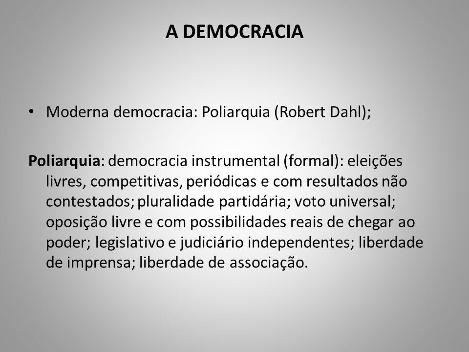 A DEMOCRACIA Moderna democracia: Poliarquia (Robert Dahl); Poliarquia: democracia instrumental (formal): eleições livres, competitivas, periódicas e c