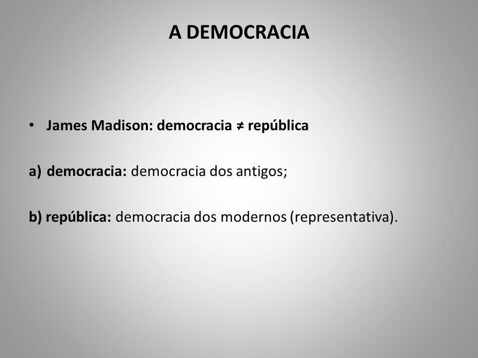 A DEMOCRACIA James Madison: democracia república a)democracia: democracia dos antigos; b) república: democracia dos modernos (representativa).