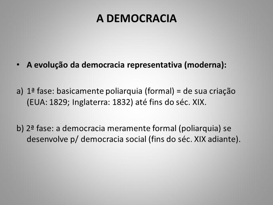 A DEMOCRACIA A evolução da democracia representativa (moderna): a)1ª fase: basicamente poliarquia (formal) = de sua criação (EUA: 1829; Inglaterra: 18