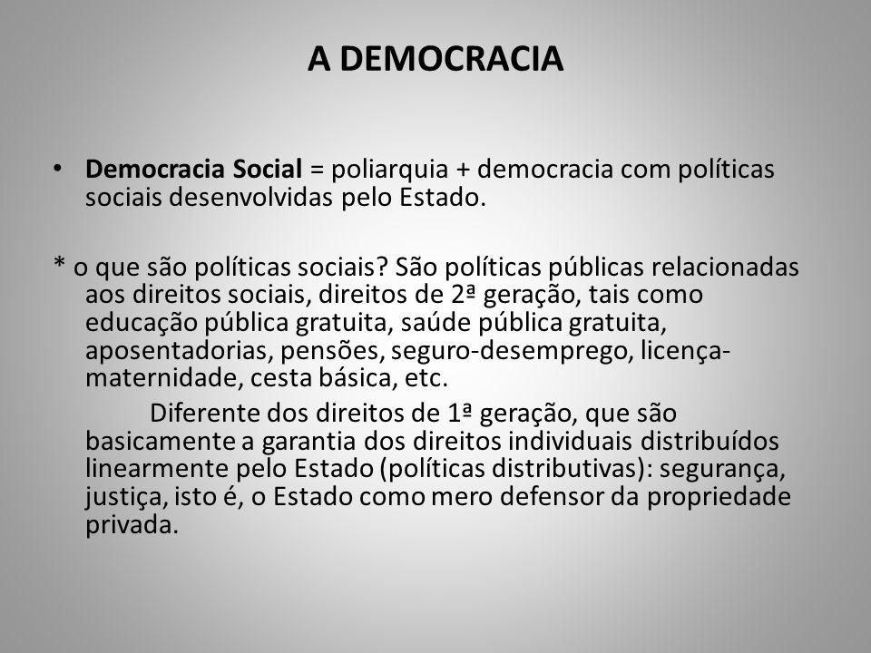 A DEMOCRACIA Democracia Social = poliarquia + democracia com políticas sociais desenvolvidas pelo Estado. * o que são políticas sociais? São políticas