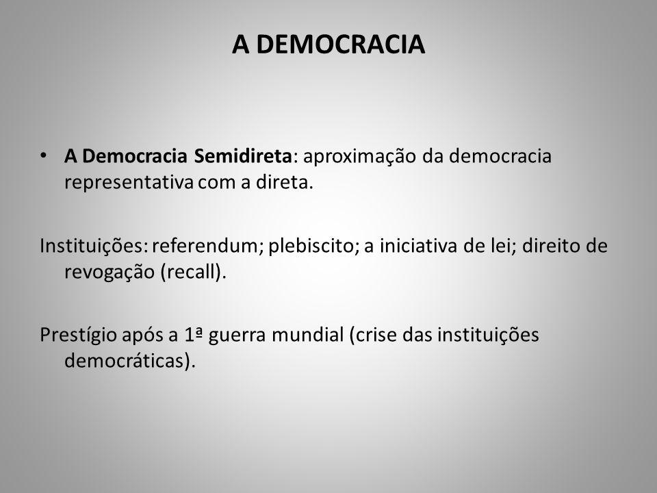 A DEMOCRACIA A Democracia Semidireta: aproximação da democracia representativa com a direta. Instituições: referendum; plebiscito; a iniciativa de lei