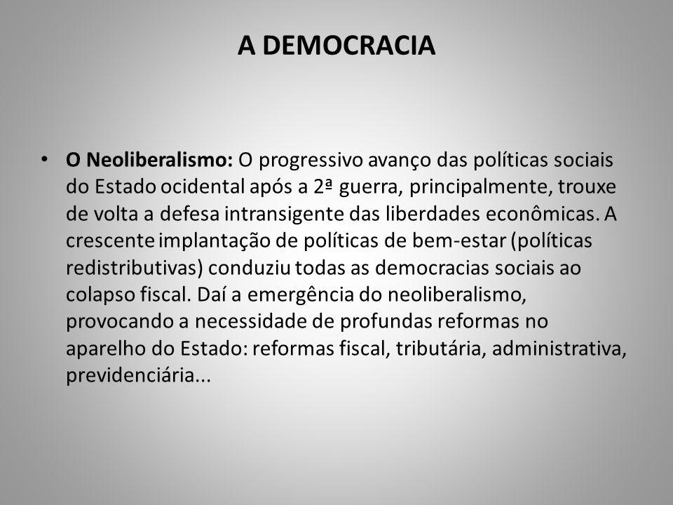 A DEMOCRACIA O Neoliberalismo: O progressivo avanço das políticas sociais do Estado ocidental após a 2ª guerra, principalmente, trouxe de volta a defe