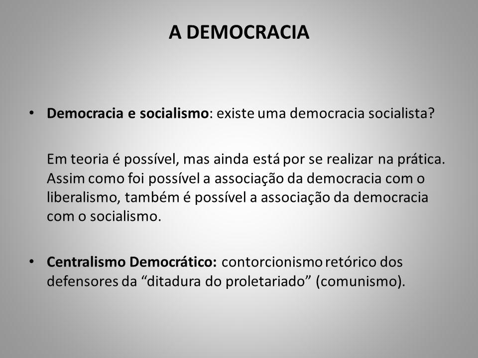 A DEMOCRACIA Democracia e socialismo: existe uma democracia socialista? Em teoria é possível, mas ainda está por se realizar na prática. Assim como fo