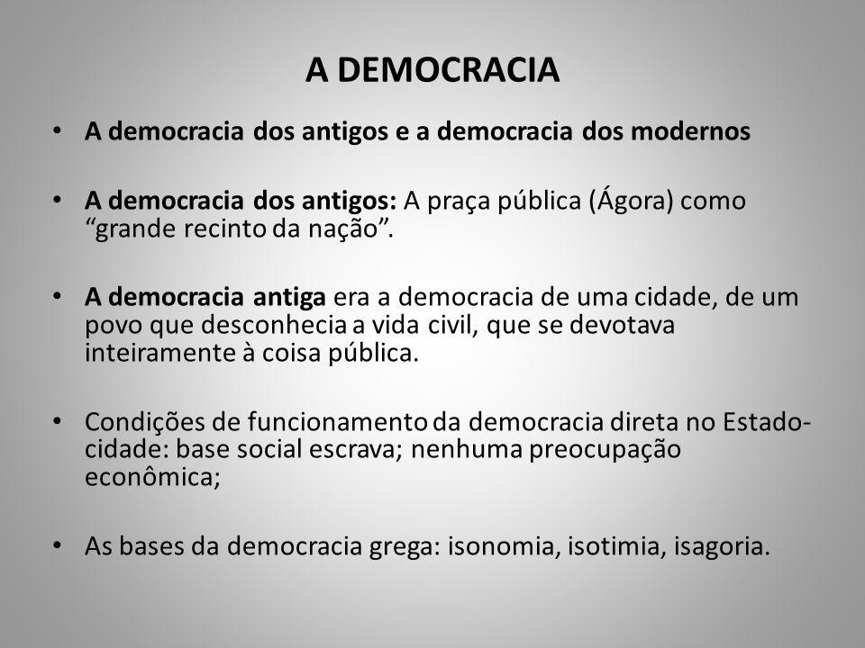 A DEMOCRACIA A democracia dos antigos e a democracia dos modernos A democracia dos antigos: A praça pública (Ágora) como grande recinto da nação. A de