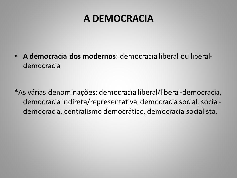 A DEMOCRACIA A democracia dos modernos: democracia liberal ou liberal- democracia *As várias denominações: democracia liberal/liberal-democracia, demo
