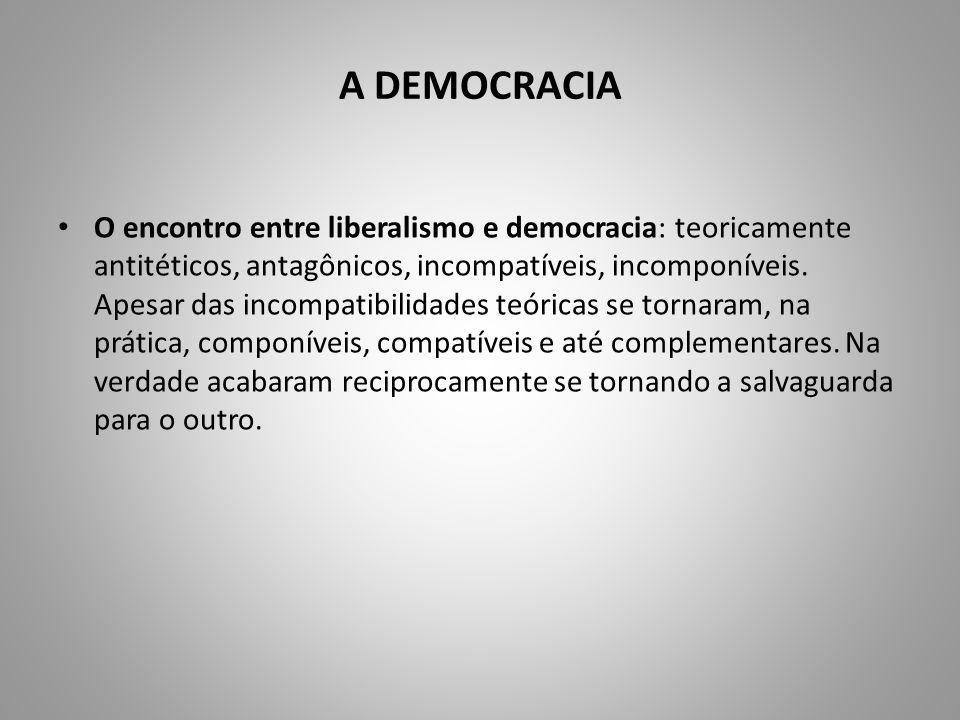 A DEMOCRACIA O encontro entre liberalismo e democracia: teoricamente antitéticos, antagônicos, incompatíveis, incomponíveis. Apesar das incompatibilid