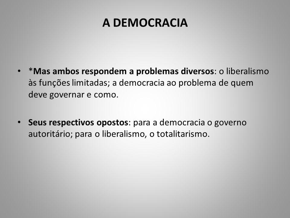 A DEMOCRACIA *Mas ambos respondem a problemas diversos: o liberalismo às funções limitadas; a democracia ao problema de quem deve governar e como. Seu