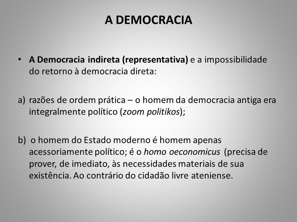 A DEMOCRACIA A Democracia indireta (representativa) e a impossibilidade do retorno à democracia direta: a)razões de ordem prática – o homem da democra