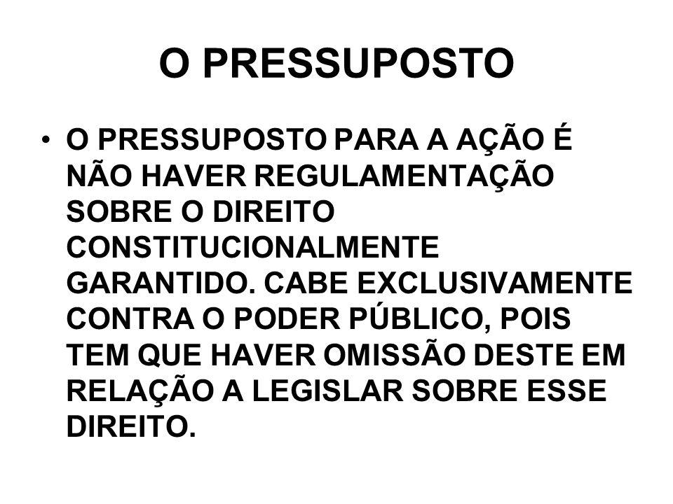 O PRESSUPOSTO O PRESSUPOSTO PARA A AÇÃO É NÃO HAVER REGULAMENTAÇÃO SOBRE O DIREITO CONSTITUCIONALMENTE GARANTIDO. CABE EXCLUSIVAMENTE CONTRA O PODER P