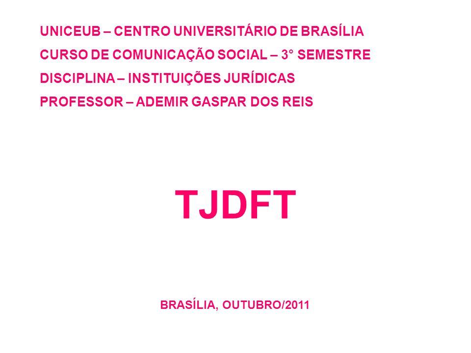 UNICEUB – CENTRO UNIVERSITÁRIO DE BRASÍLIA CURSO DE COMUNICAÇÃO SOCIAL – 3° SEMESTRE DISCIPLINA – INSTITUIÇÕES JURÍDICAS PROFESSOR – ADEMIR GASPAR DOS