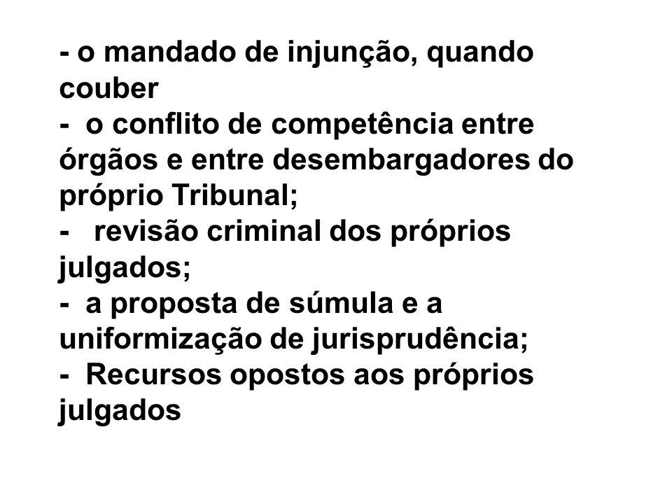 - o mandado de injunção, quando couber - o conflito de competência entre órgãos e entre desembargadores do próprio Tribunal; - revisão criminal dos pr