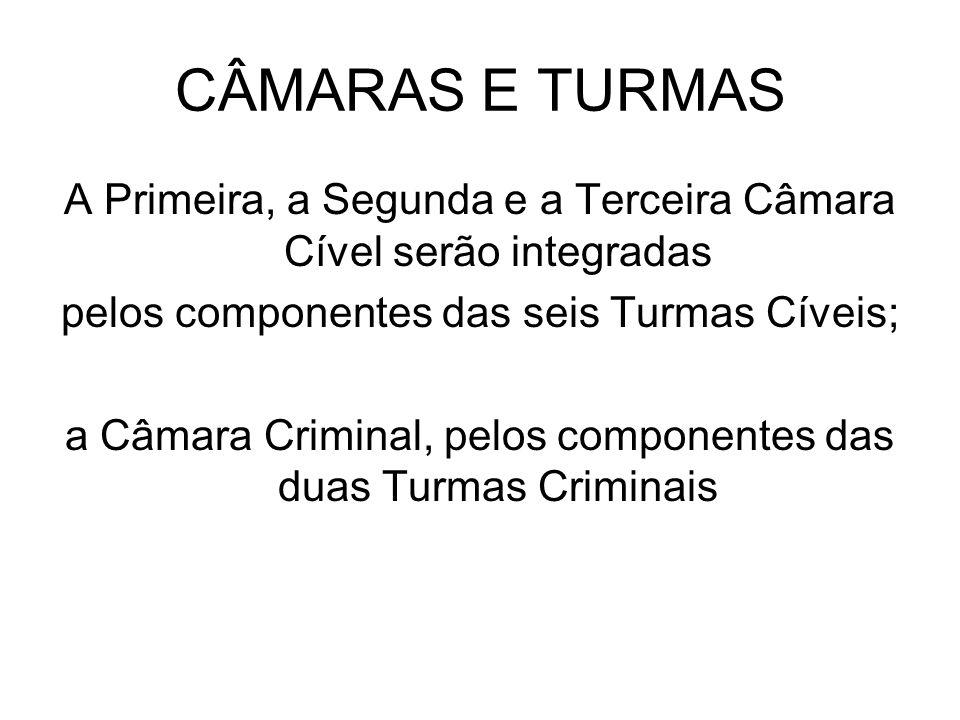 CÂMARAS E TURMAS A Primeira, a Segunda e a Terceira Câmara Cível serão integradas pelos componentes das seis Turmas Cíveis; a Câmara Criminal, pelos c