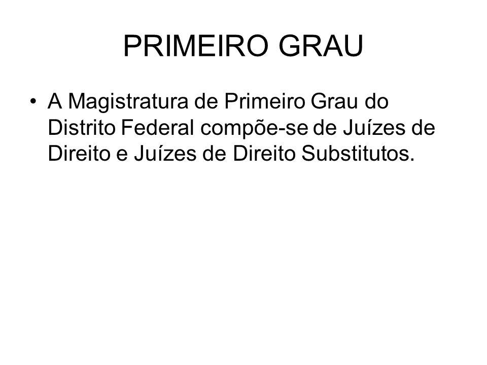 PRIMEIRO GRAU A Magistratura de Primeiro Grau do Distrito Federal compõe-se de Juízes de Direito e Juízes de Direito Substitutos.